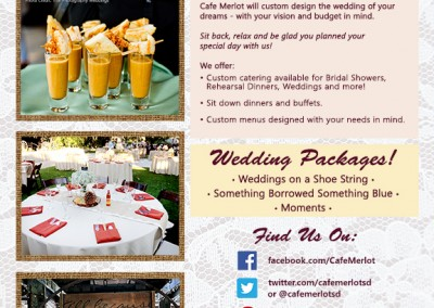 Cafe Merlot Flyer - Bridal